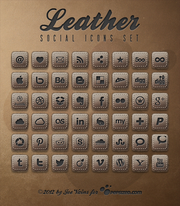 Leather Social Icon Set