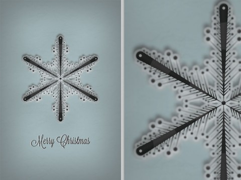 Snowflake Christmas Card Free PSD File