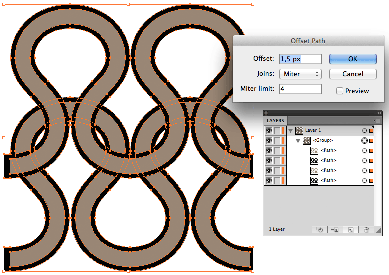 Create a vector knitting pattern step 6