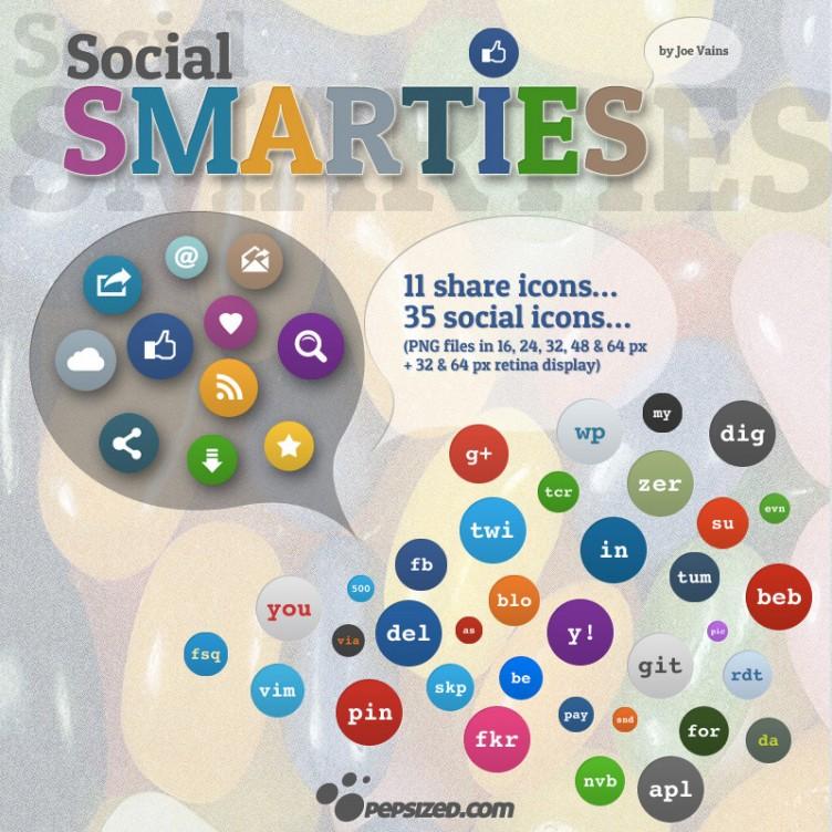 46 Social Smarties Icons – PEPSized