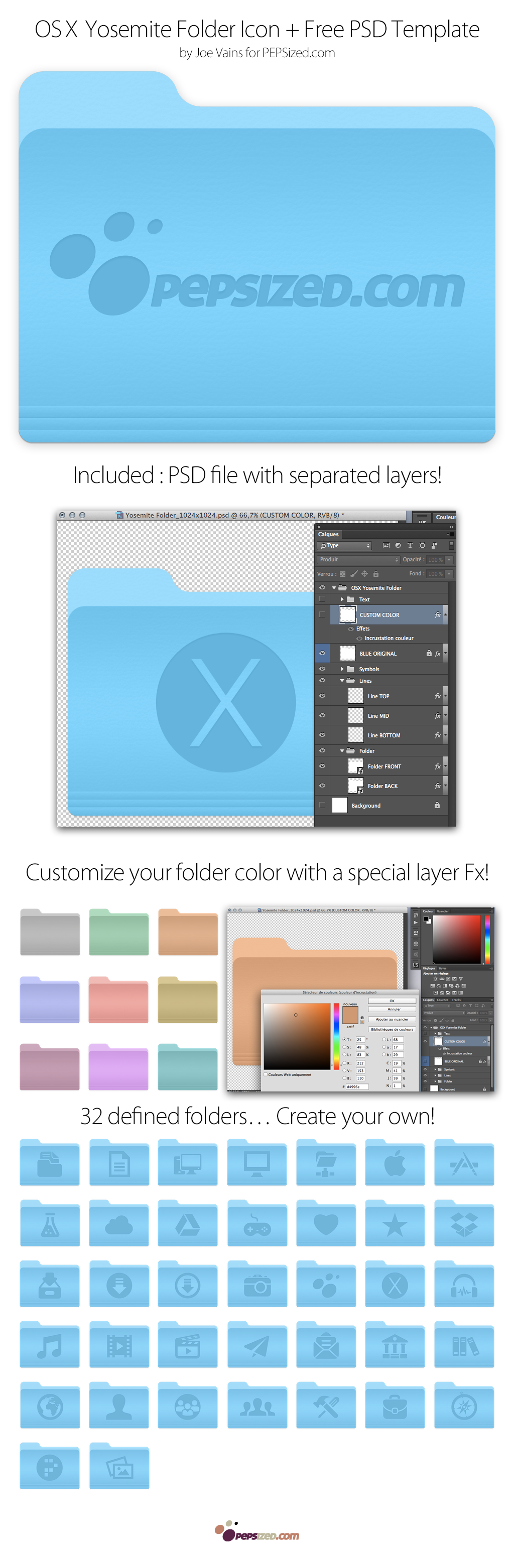 46 OSX Yosemite Folders Icons + Free PSD Template – PEPSized